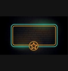blank neon light star banner vector image