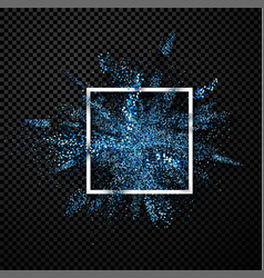 Blue glitter explosion on transparent background vector