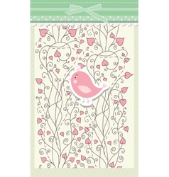 Card for valentine day with bird vector