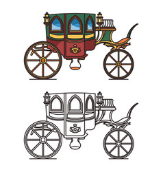 Carriage for queen or icons victorian chariot vector