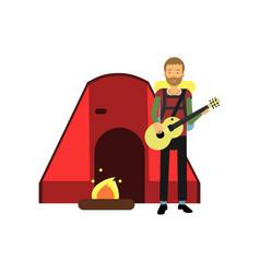 cartoon bearded man tourist character playing vector image