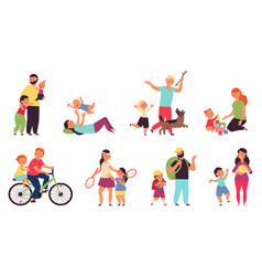 cartoon parents with children nurturing family vector image