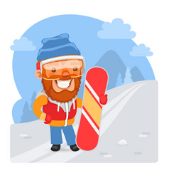 cartoon snowboard instructor vector image