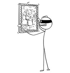 cartoon thief stealing painting in art gallery vector image