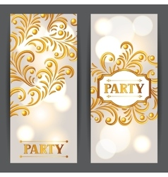 Celebration party banners with golden ornament vector
