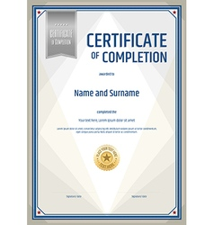 Certificate completion template in portrait vector