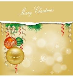 Christmas background with balls and Christmas vector image vector image