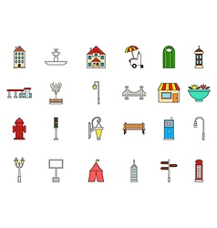City elements colorful icons set vector