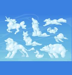 cloud animals cartoon fluffy eddies in blue sky vector image