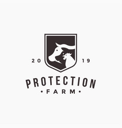 cow pig and rooster in shield logo vector image
