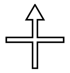 Cross Arrow Up Contour Icon vector