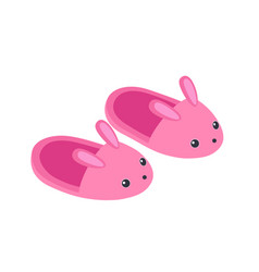 cute bunny slippers isolated on white background vector image
