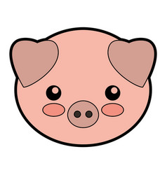 Cute pork cartoon vector