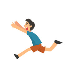 cute smiling happy boy running cartoon vector image