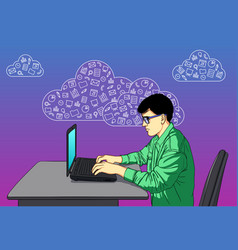 designer on hackathon with icons of cloud service vector image