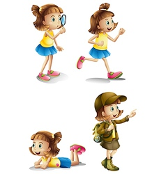 Different activities of a young girl vector image