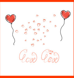 doodle heart shaped balloons with lettering on vector image