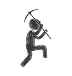 drawing worker mining pick axe helmet figure vector image