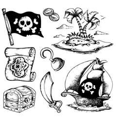 Drawings with pirate theme 1 vector
