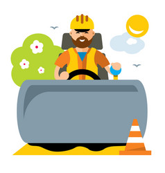 Driver of road roller flat style colorful vector