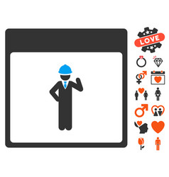 Engineer calendar page icon with dating bonus vector