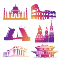 famous landmarks silhouettes icons vector image