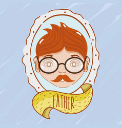 father inside of emblem decoration design vector image