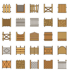 fences colored icons set - fence creative vector image