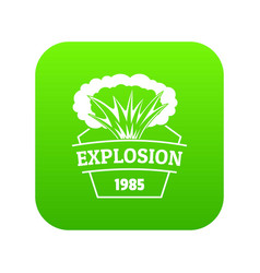 fire explosion icon green vector image
