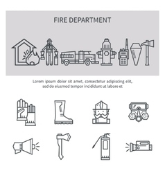 Fire safety line icons vector