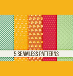 five seamless geometric patterns vector image