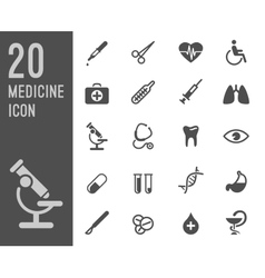 Flat health care and medical research icon set vector image