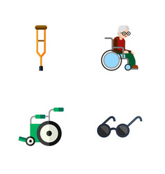 Flat icon handicapped set of wheelchair stand vector