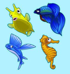 Flying fish seahorse and other tropical fish vector