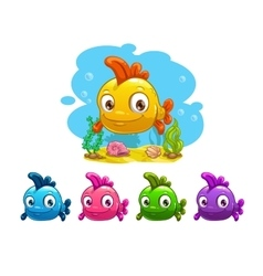 Funny cartoon yellow baby fish vector image