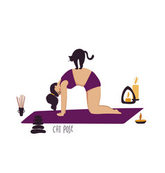Girl doing yoga pose with cat vector