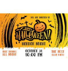 halloween party invitation with horror pumpkin vector image