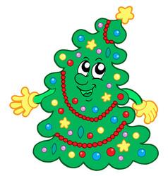 Happy christmas tree vector