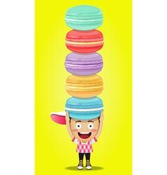 Happy man carrying big macaroons or macarons vector