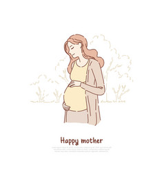 happy pregnant expectant woman smiling lady vector image