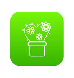 heart cactus icon green vector image
