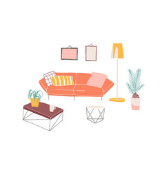 home interior furniture pieces hand drawn vector image