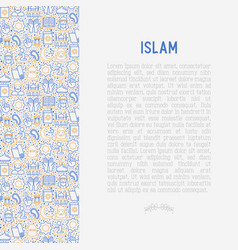 islamic concept with thin line icons vector image
