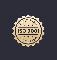 iso 9001 badge gold label vector image