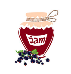 jar of black currant jam vector image