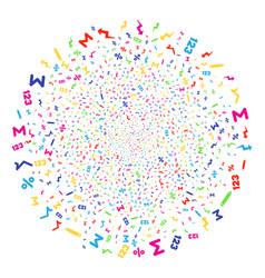 Math symbols explosion sphere vector