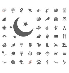 Moon and star icon spring vector