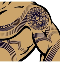 Muscled Man with Polynesian Tattoo vector