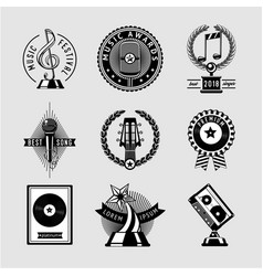 Music awards vintage set musical prize vector