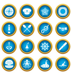 nautical icons blue circle set vector image